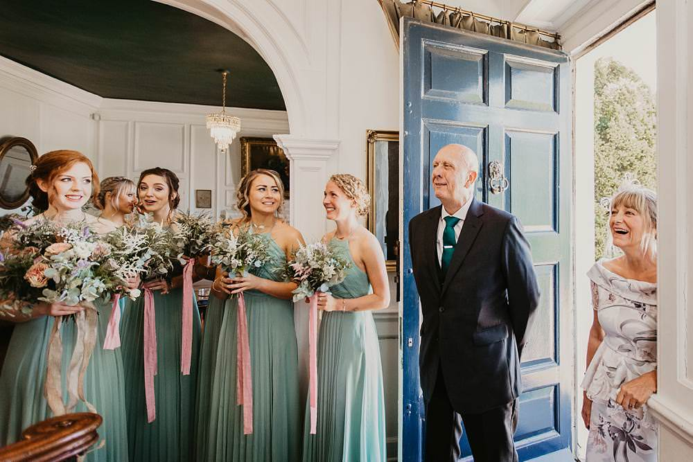 Bridesmaids Bridesmaid Dress Dresses Sage Green Bouquets Greenery Foliage Eggington House Wedding October Willis Photography