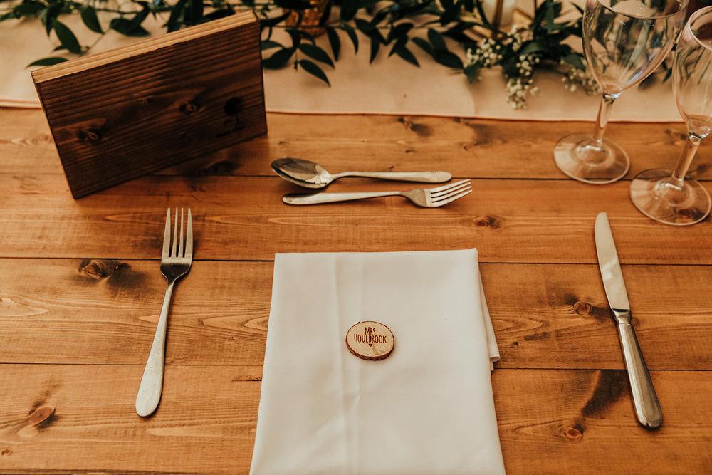 Log Slice Place Name Card Place Setting Hazlewood Castle Woodland Wedding Nicola Mackrill Photography