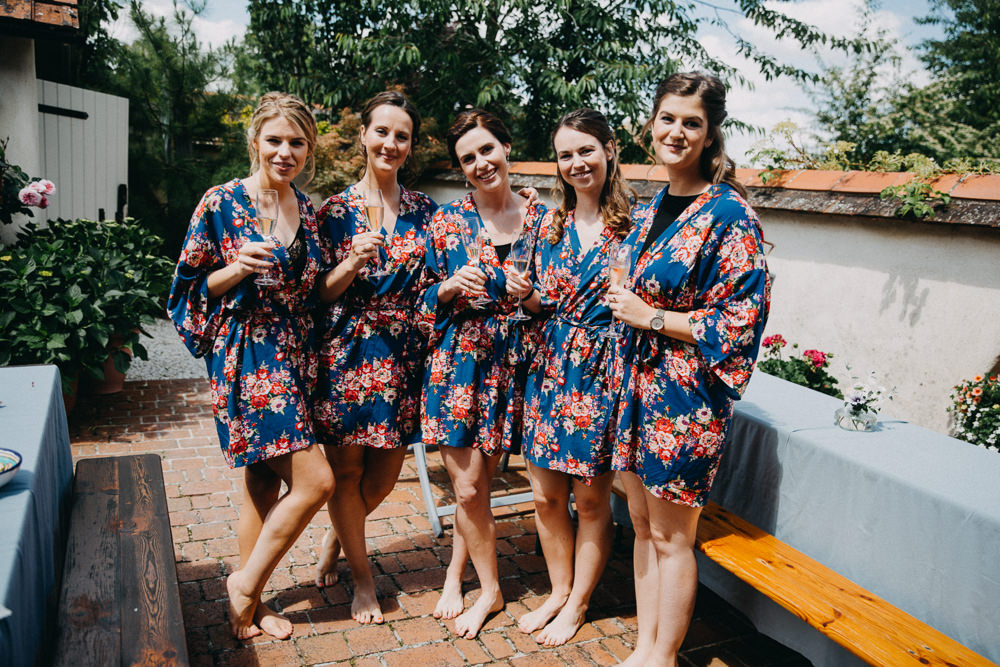 Bride Bridal Bridesmaids Dressing Gown Robes Horsebridge Station Wedding Emily Grace Photography