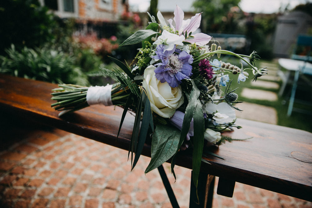 Bouquet Flwoers Bride Bridal Rose Lily Thisle Horsebridge Station Wedding Emily Grace Photography