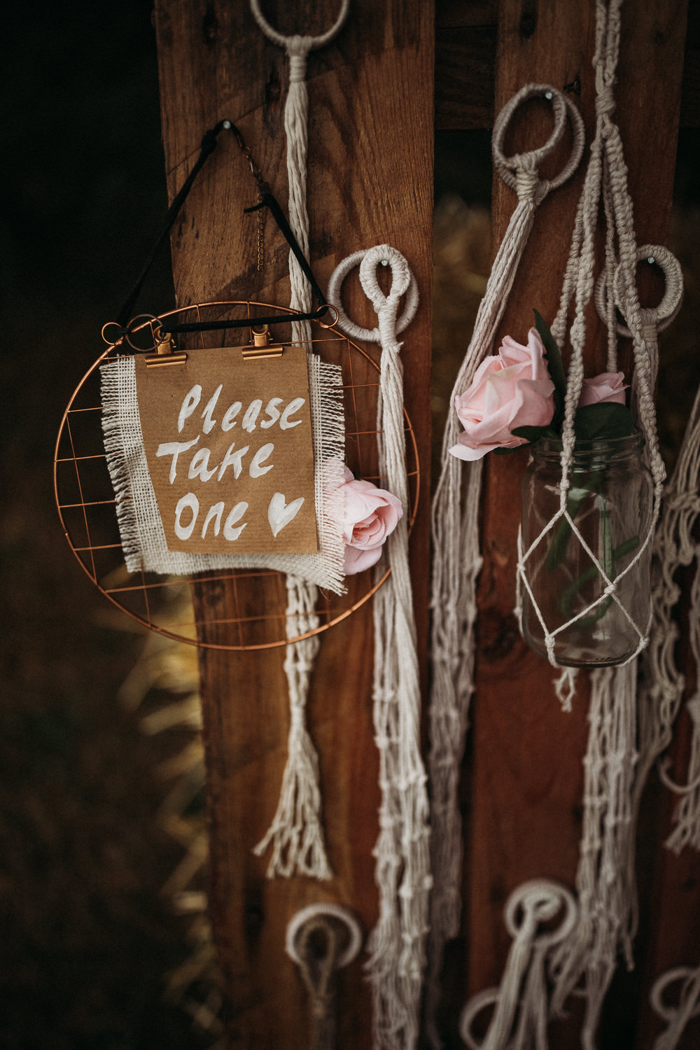 Favors Favours Wooden Pallet Macrame Jar Flowers Horsley Hale Farm Wedding Thyme Lane Photography