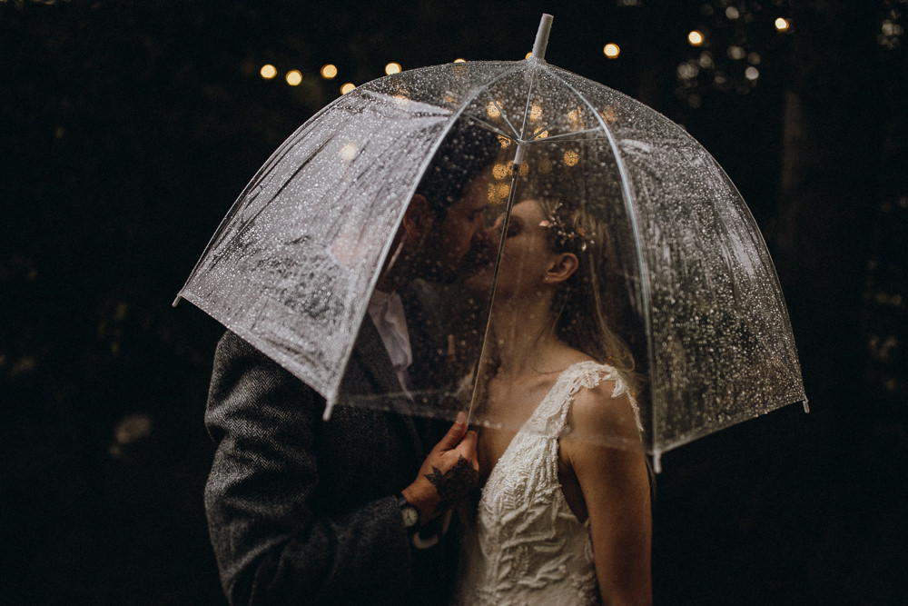 Rainy Rain Umbrella Horsley Hale Farm Wedding Thyme Lane Photography
