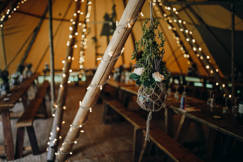 Tipi Fairylights Flowers Macrame Horsley Hale Farm Wedding Thyme Lane Photography