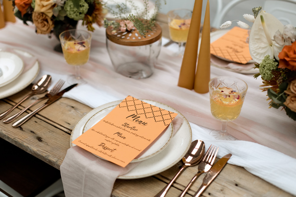 Tablescape Table Decor Decoration Autumn Fall Orange Mustard Table Cloth Runner Flowers Candles Menu Place Setting Moroccan Wedding Ideas Emma Louise Photography