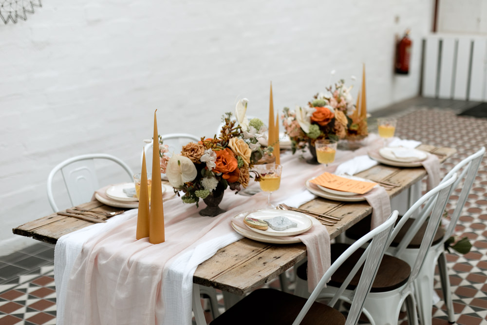 Tablescape Table Decor Decoration Autumn Fall Orange Mustard Table Cloth Runner Flowers Candles Moroccan Wedding Ideas Emma Louise Photography
