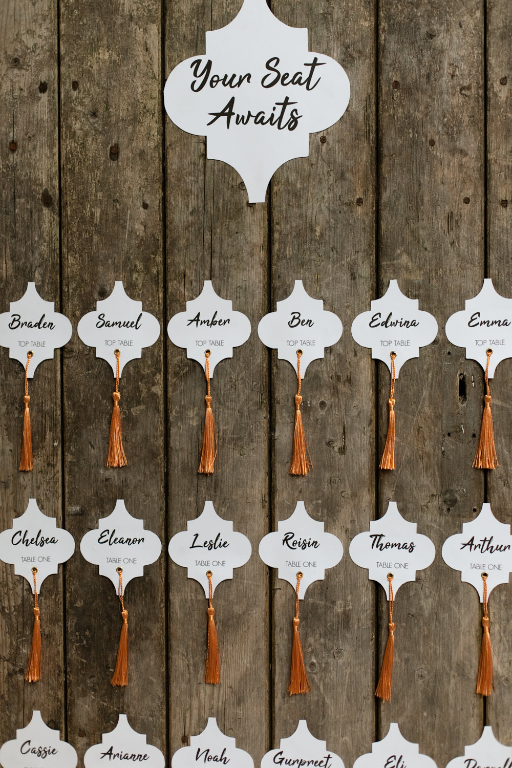 Table Plan Seating Chart Wooden Rustic Tassels Moroccan Wedding Ideas Emma Louise Photography