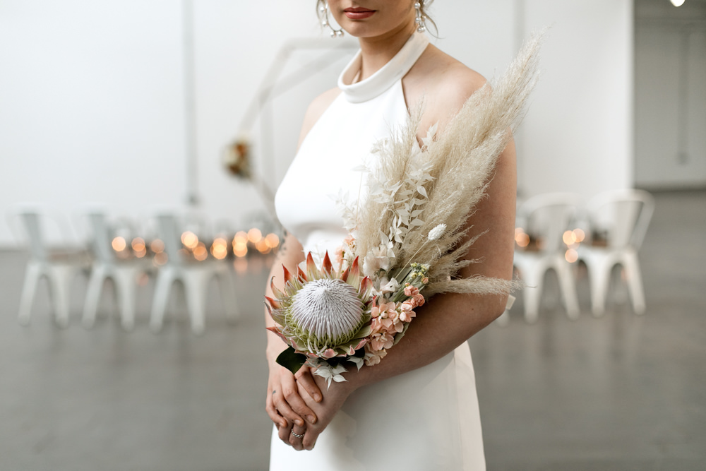 Bouquet Flowers Bride Bridal Pampas Grass Protea Moroccan Wedding Ideas Emma Louise Photography