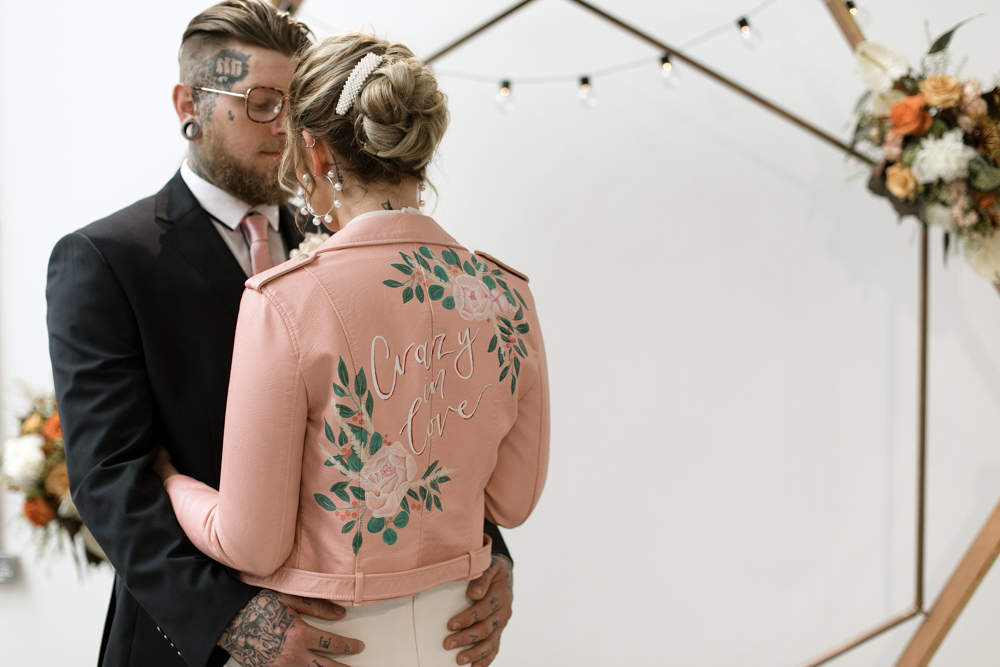 Leather Jacket Pink Painted Personalised Bride Bridal Moroccan Wedding Ideas Emma Louise Photography