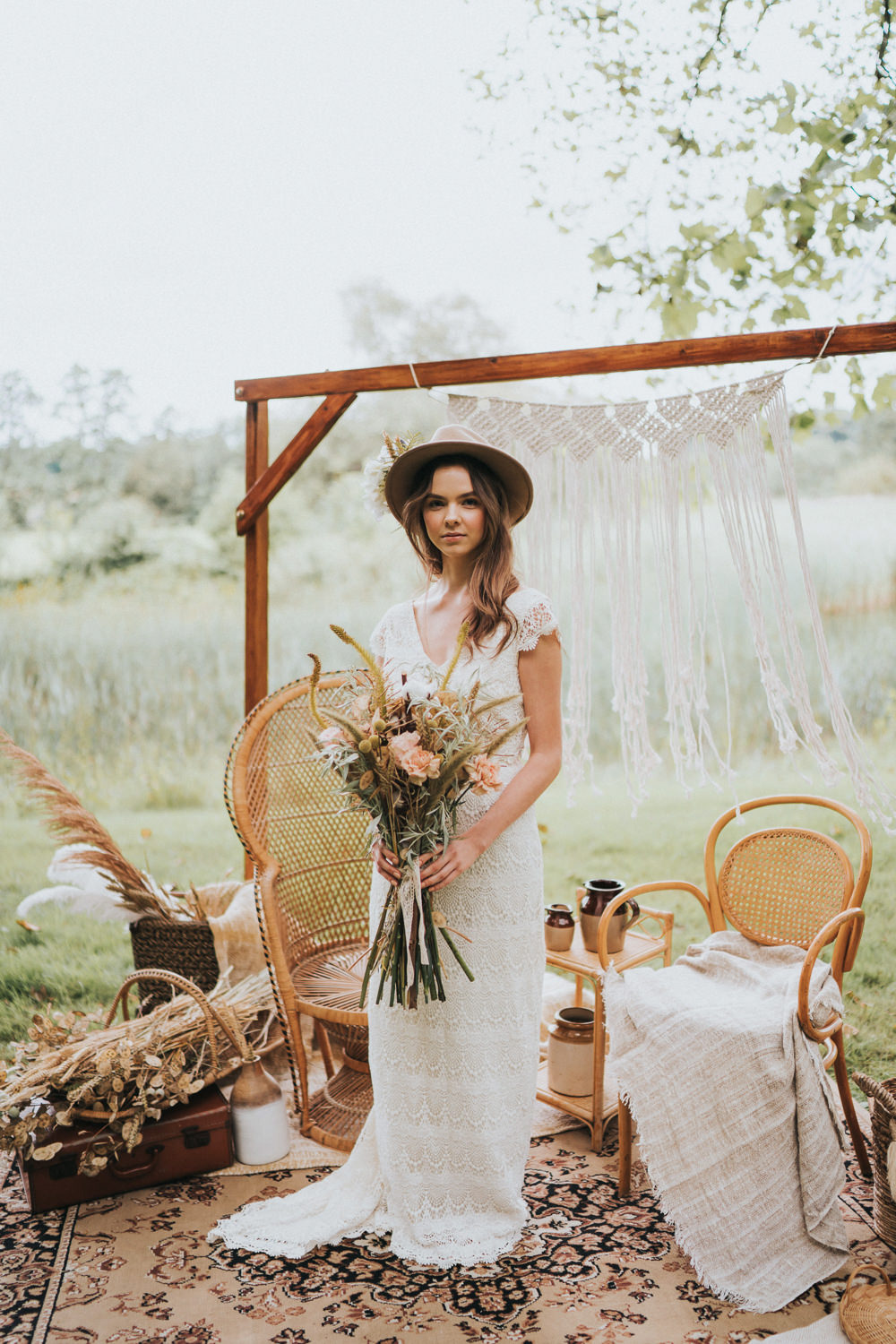 Dress Gown Bride Bridal Lace Train Cap Sleeves Daughters of Simone Naked Tipi Wedding Ideas Holly Rose Stones