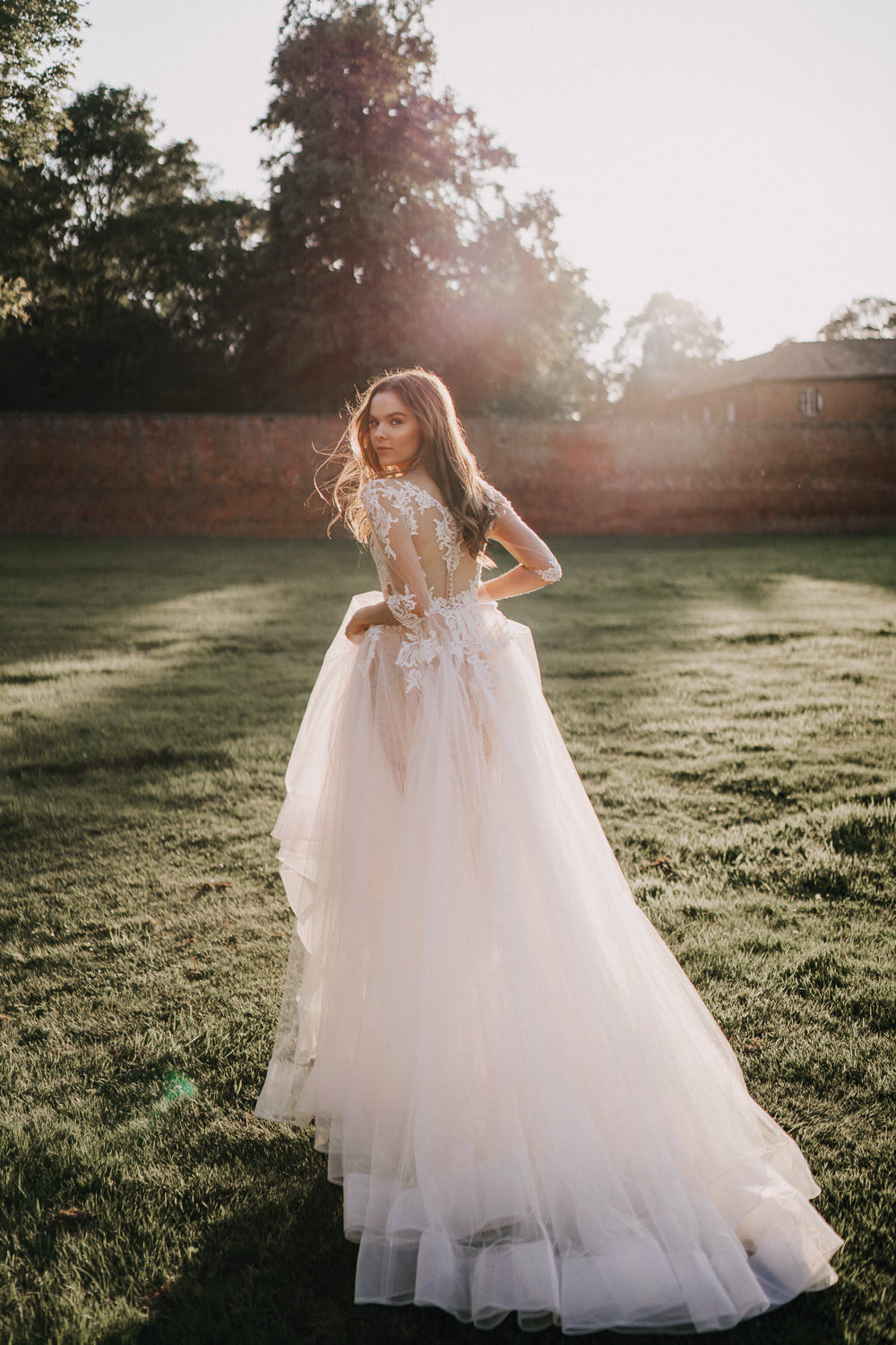Bride Bridal Dress Gown Lace Sleeves Tulle Skirt Naked Tipi Wedding Ideas Holly Rose Stones