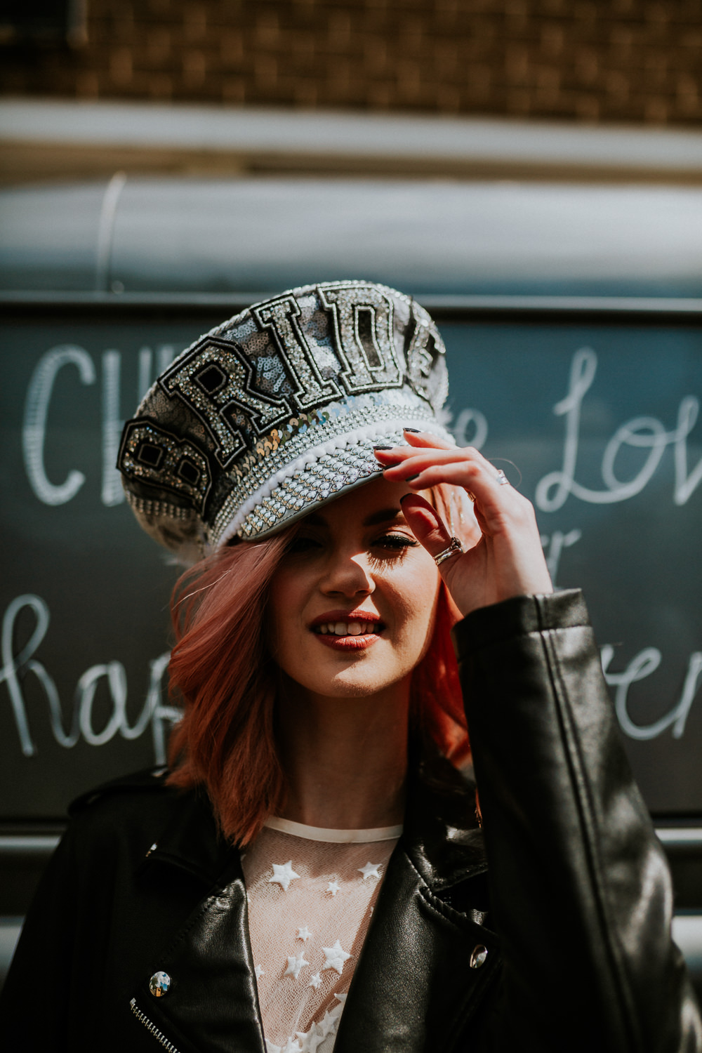 Bride Bridal Disco Hat Glitter Sequin Silver Neon Sign Wedding Ideas State Of Love and Trust Photography