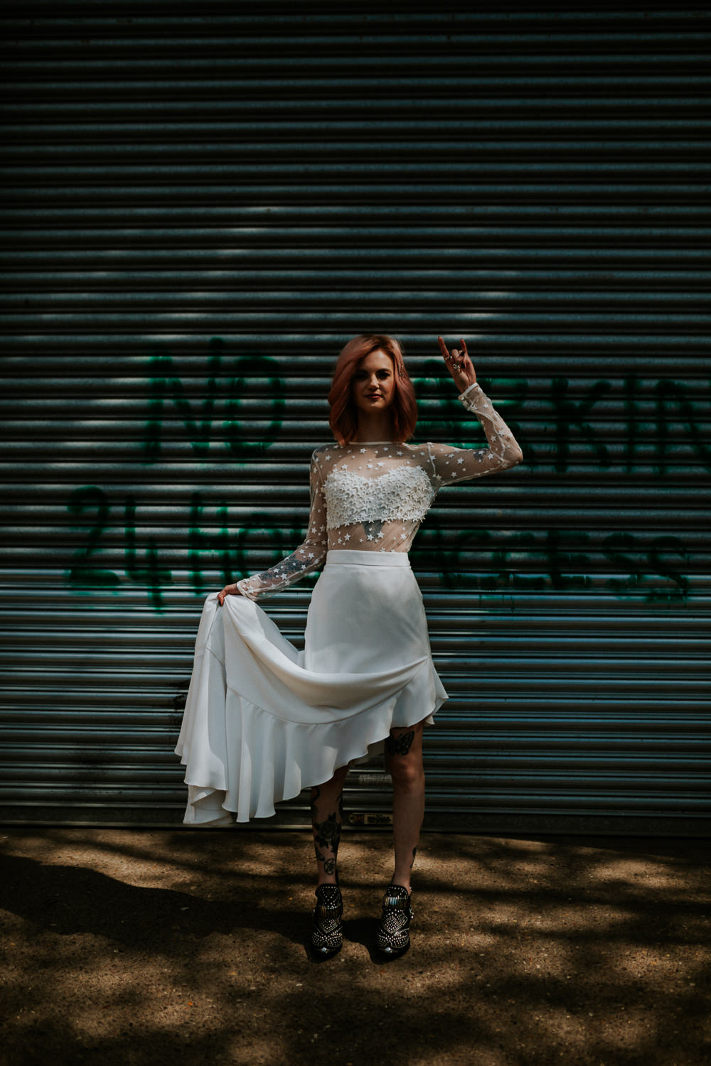 Dress Gown Bride Bridal Top Skirt Train Star Celestial Neon Sign Wedding Ideas State Of Love and Trust Photography