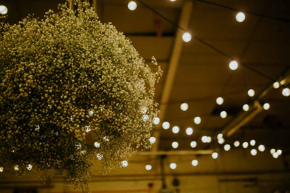 Baby Breath Gyp Gypsophila Cloud Suspended Hanging Flowers Neon Sign Wedding Ideas State Of Love and Trust Photography