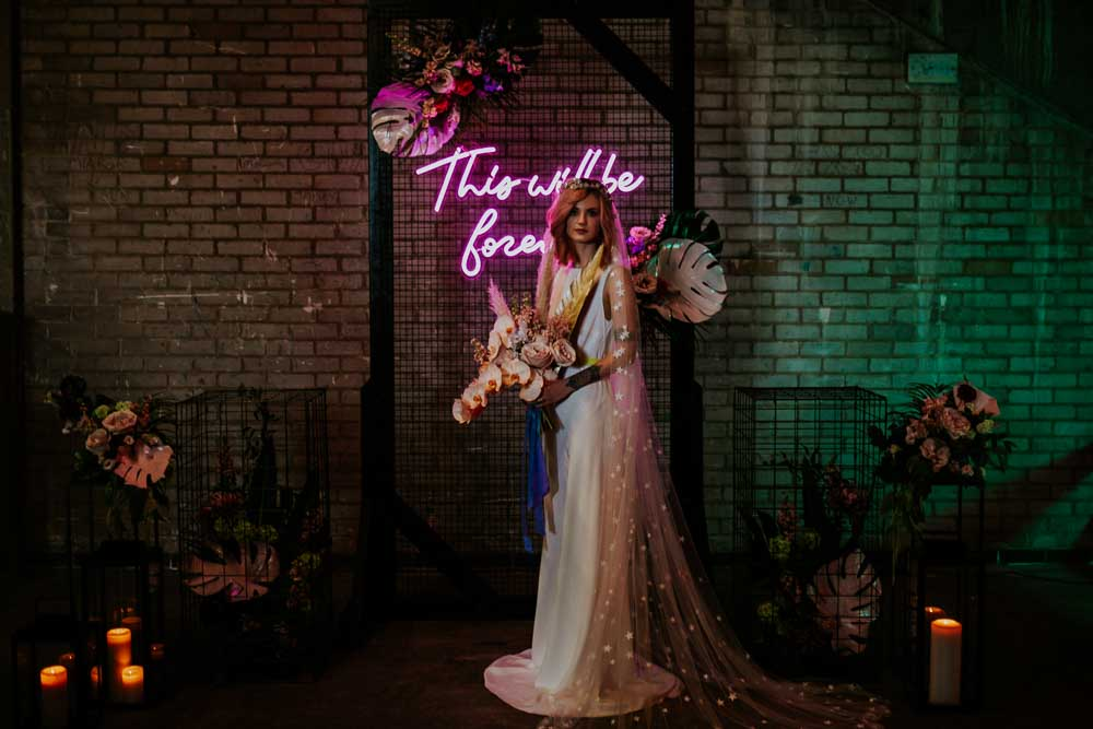 Dress Gown Bride Bridal Straps Train Star Celestial Veil Backdrop Arch Flowers Neon Sign Wedding Ideas State Of Love and Trust Photography