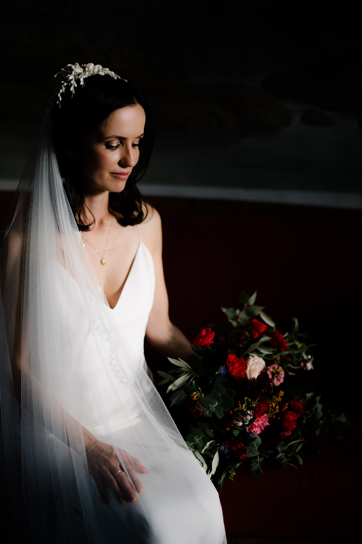 Bride Bridal Dress Gown by Alexandra Grecco Lace Veil Spaghetti Straps Tuscany Wedding Lelia Scarfiotti