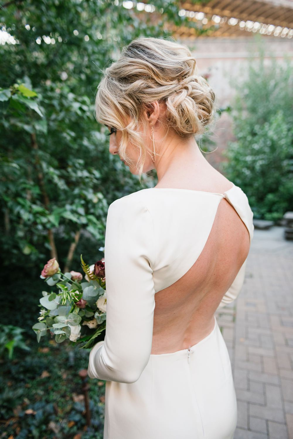 Hair Style Up Do Chignon Dress Gown Bride Bridal Backless Long Sleeves Brooklyn Elopement Everly Studios