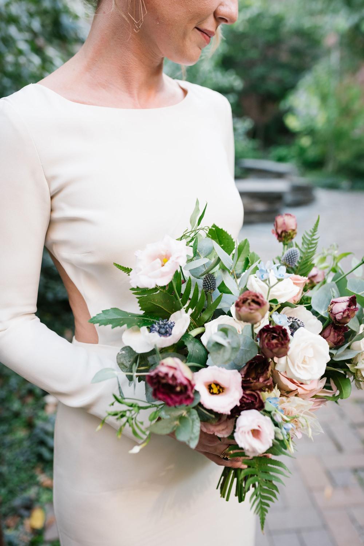 Bouquet Flowers Bride Bridal Rose Anemone Eucalyptus Greenery Foliage Brooklyn Elopement Everly Studios