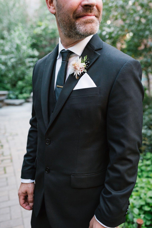 Groom Stui Black Tie Dahlia Buttonhole Brooklyn Elopement Everly Studios