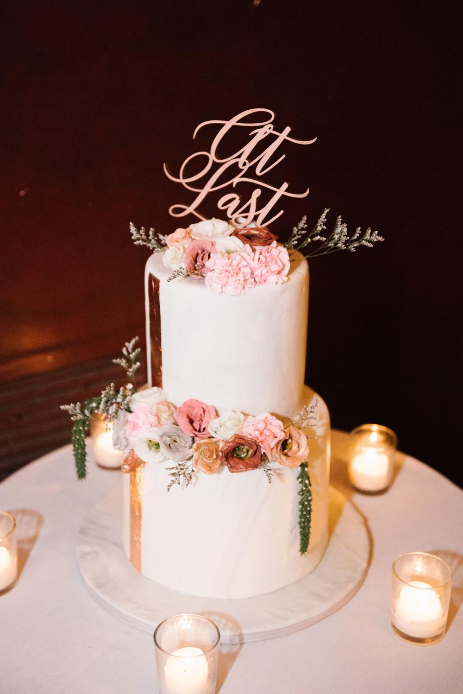 Buttercream Cake Copper Leaf Laser Cut Topper Flowers Candles Brooklyn Elopement Everly Studios