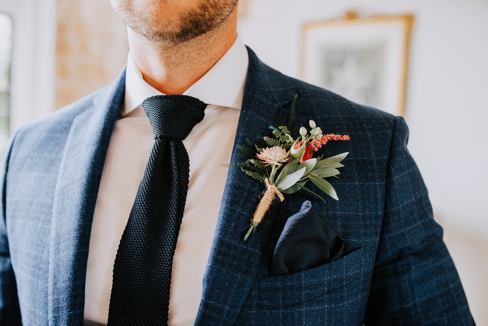 Groom Suit Blue Buttonhole Tie Butley Priory Wedding Sally Rawlins Photography