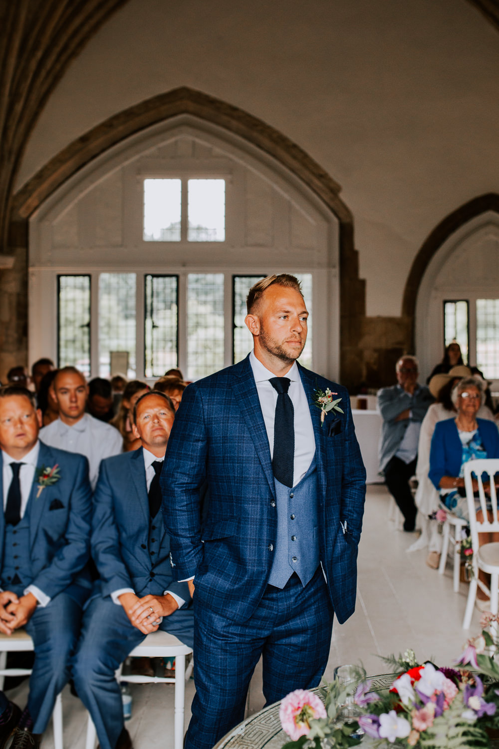 Groom Suit Blue Buttonhole Tie Waistcoat Butley Priory Wedding Sally Rawlins Photography