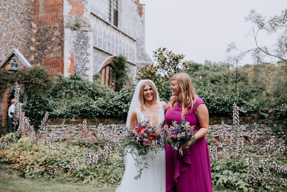 Bridesmaid Dress Bridesmaids Dresses Pink Butley Priory Wedding Sally Rawlins Photography