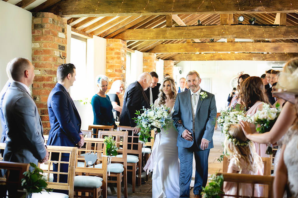 Bride bridal Fitted Fishtail Dress Gown Wildflower White Blue Bouquet Countryside Barn Wedding Katrina Matthews Photography