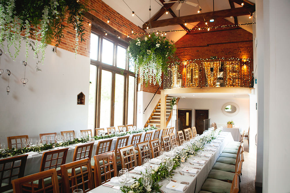 Greenery Foliage Chandeliers Love Light Letters Runner Countryside Barn Wedding Katrina Matthews Photography