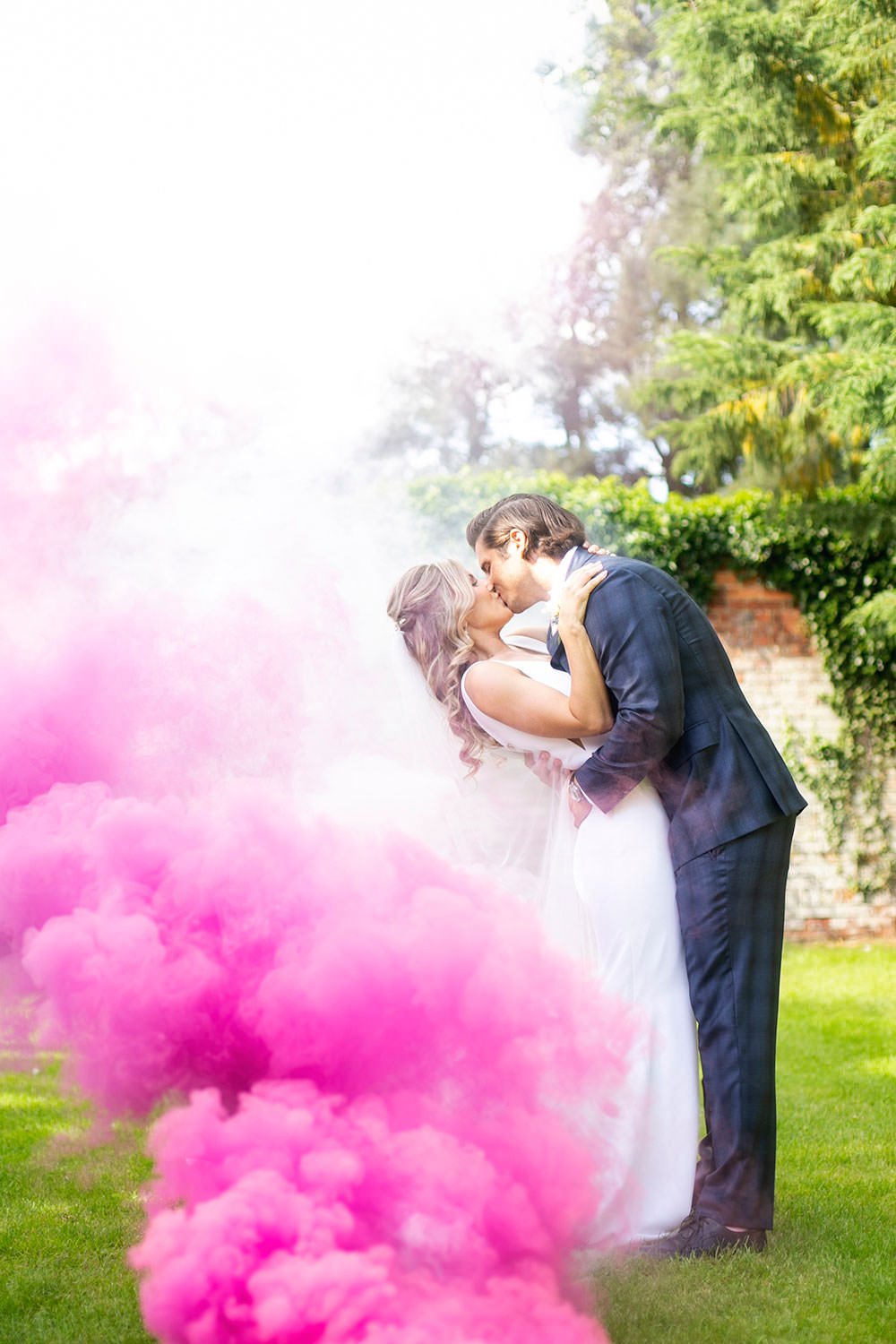 Smoke Bomb Bride bridal Fitted Fishtail Dress Gown Checked Suit Groom Countryside Barn Wedding Katrina Matthews Photography