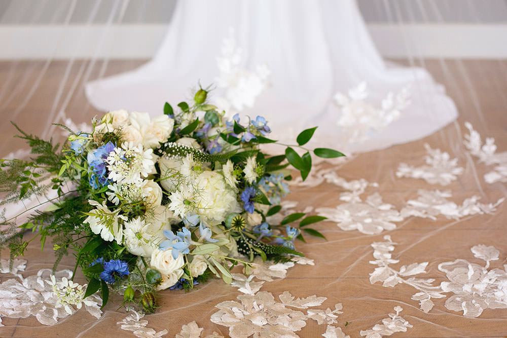 Bride Bridal Bouquet White Blue Greenery Floral Veil Countryside Barn Wedding Katrina Matthews Photography