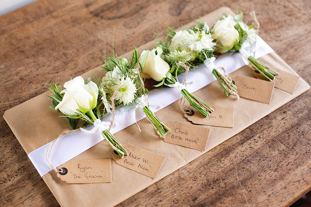 White Rose Buttonhole Groom Groomsmen Countryside Barn Wedding Katrina Matthews Photography