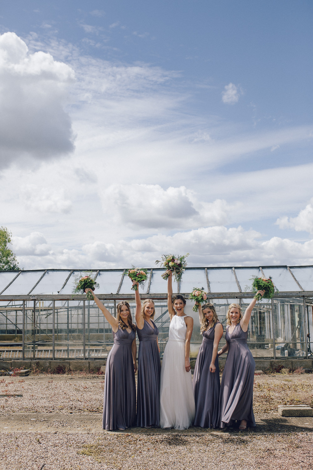 Bridesmaids Bridesmaid Dress Dresses Pewter Grey Maxi Bouquets Deer Park Hall Wedding Curious Rose Photography