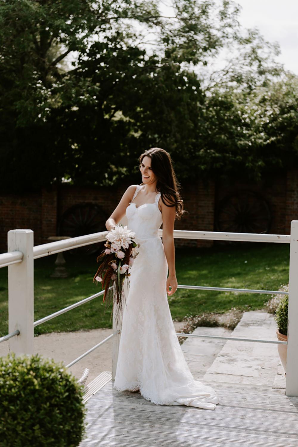 Bride Bridal Dress Gown Lace Straps Train Ethical Wedding Ideas Sadie Osborne Photography