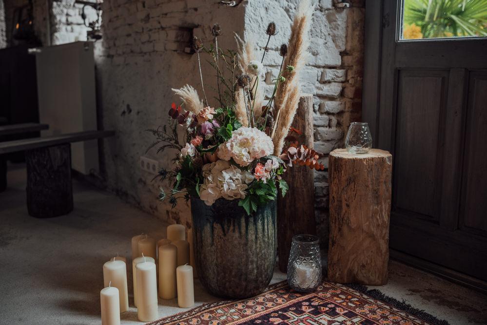 Pampas Grass Flowers Candles Log Slice Decor Decoration France Destination Wedding The Shannons Photography