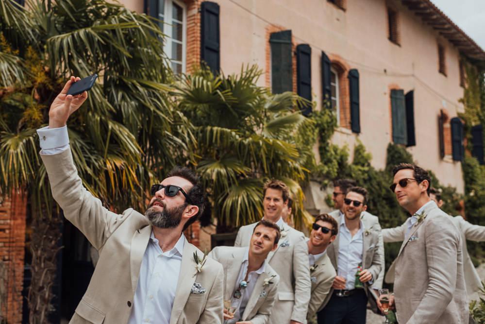 Groom Groomsmen Suit Cream Linen France Destination Wedding The Shannons Photography