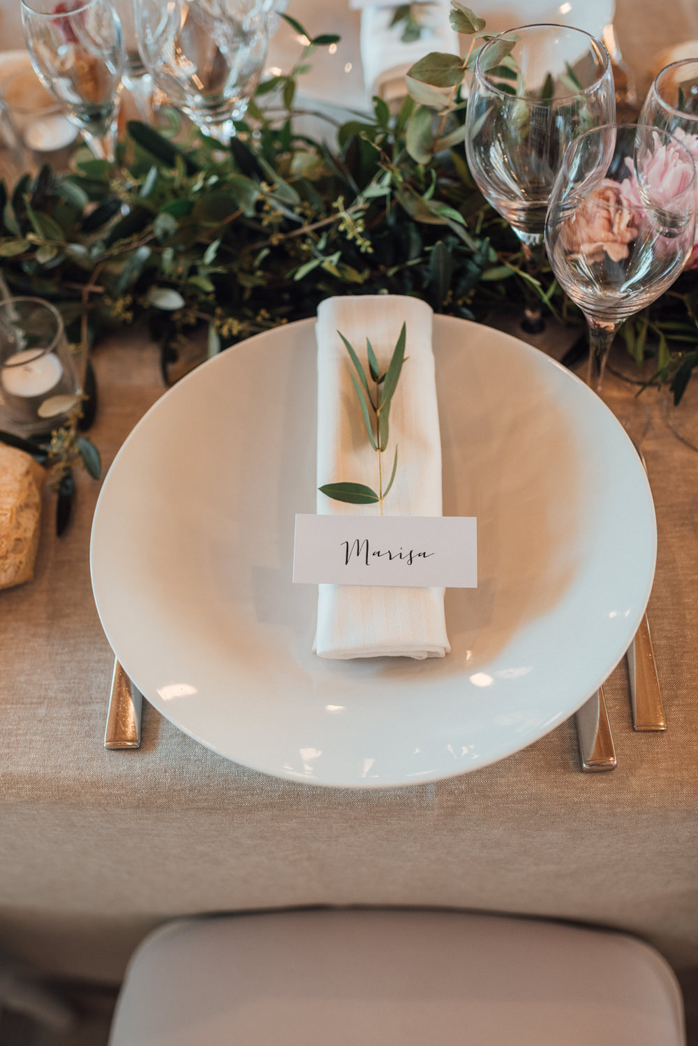 Place Setting Name Tag Calligraphy Greenery France Destination Wedding The Shannons Photography