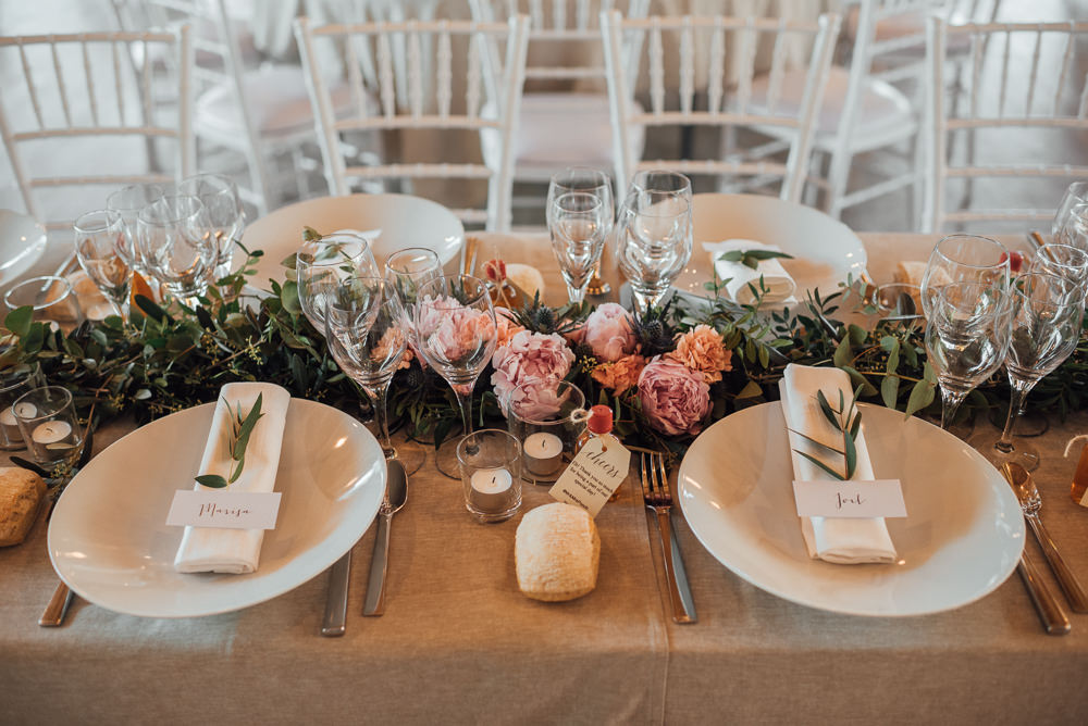 Table Flowers Garland Swag Greenery Foliage France Destination Wedding The Shannons Photography