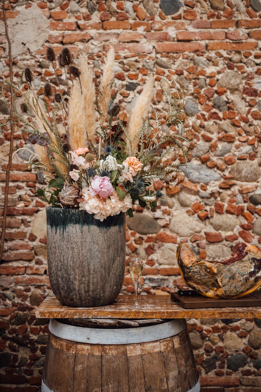 Flowers Pampas Grass Decor France Destination Wedding The Shannons Photography