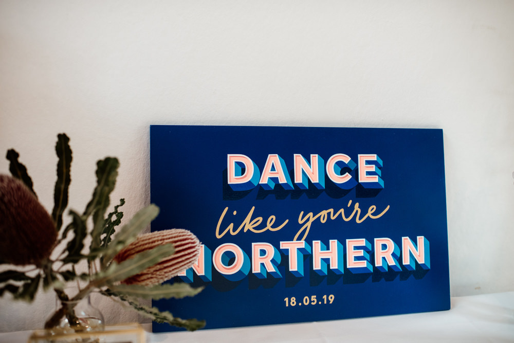 Sign Signs Signage Graphic Modern Pink Blue Henry Moore Wedding Ellie Gillard Photography