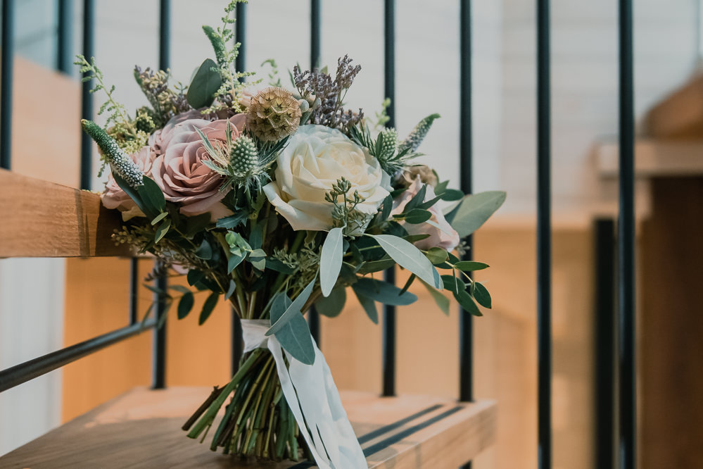 Bride Bridal Bouquet Rose Pink Cream Eucalyptus Sea Holly Hexham Winter Gardens Wedding Leighton Bainbridge Photography