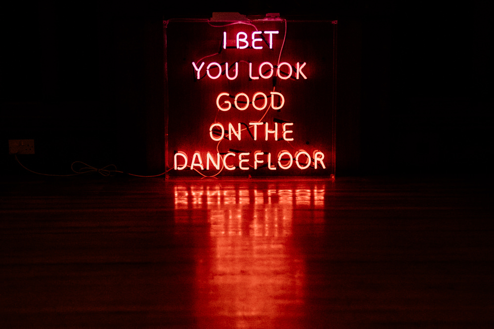 I Bet You Look Good on the Dancefloor Neon Sign Dance Floor Hexham Winter Gardens Wedding Leighton Bainbridge Photography