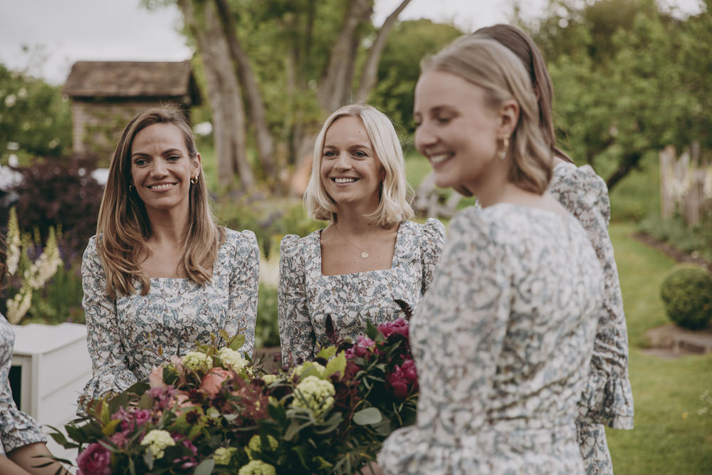 Bridesmaids Bridesmaid Dress Dresses Liberty Print Floral Flower Fabric Kent Marquee Wedding Lily Bungay and Co