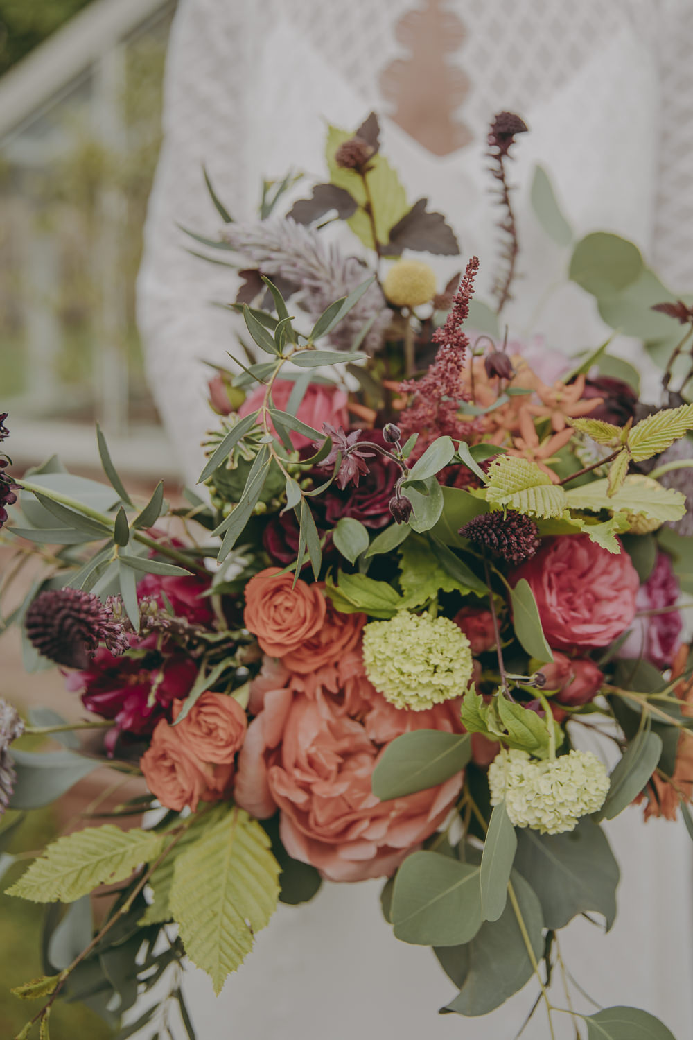 Bouquet Flowers Bride Bridal Coral Peony Rose Astilbe Plum Greenery Kent Marquee Wedding Lily Bungay and Co