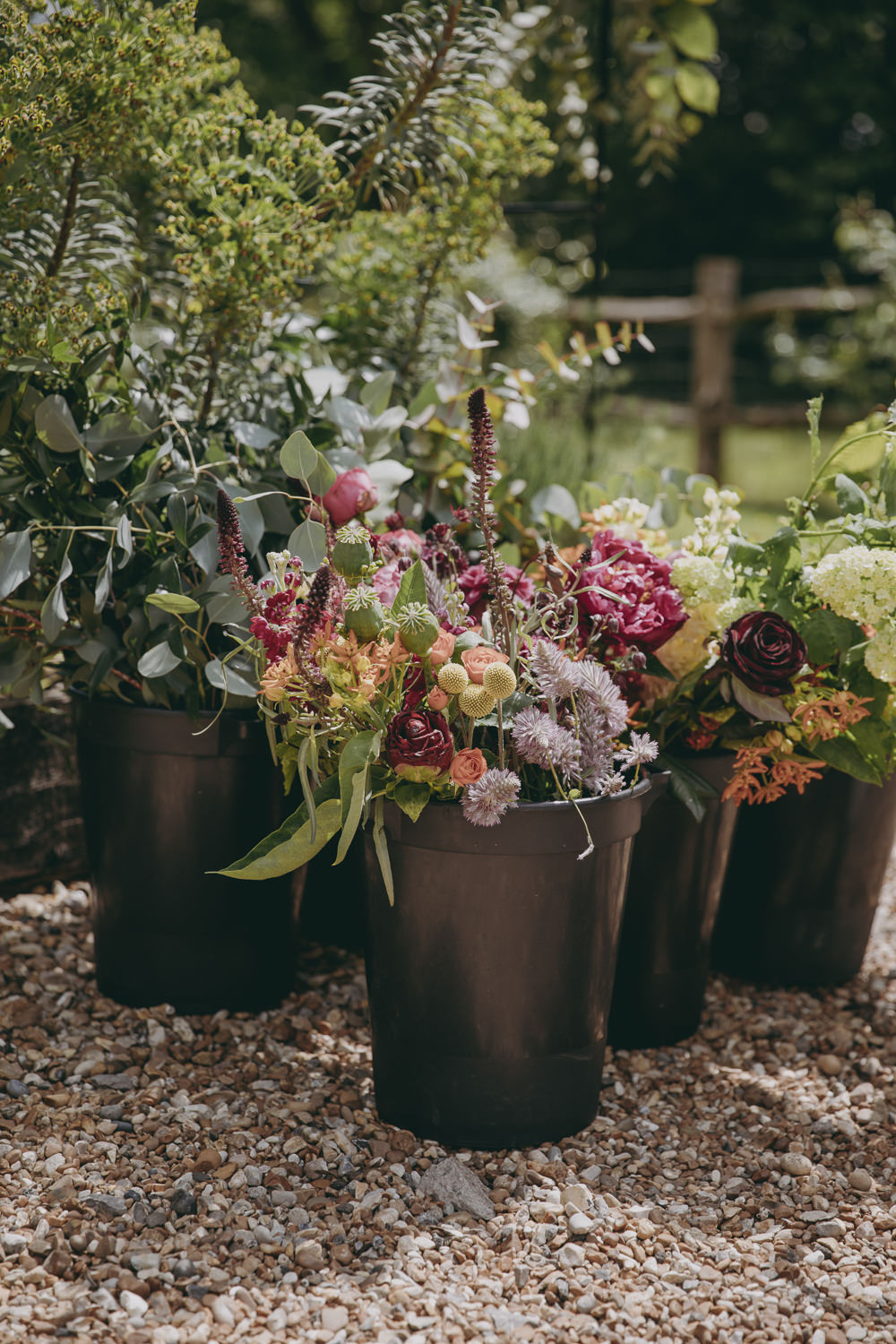 Buckets Flowers Kent Marquee Wedding Lily Bungay and Co