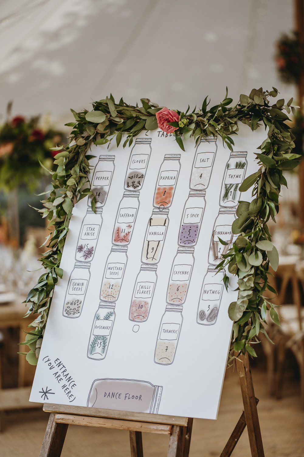 Jar Seating Chart Table Plan Greenery Foliage Kent Marquee Wedding Lily Bungay and Co