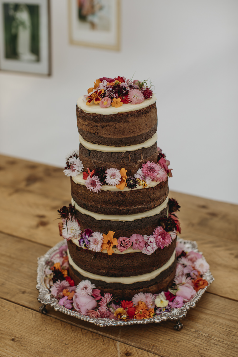 Naked Cake Chocolate Sponge Layer Flowers Kent Marquee Wedding Lily Bungay and Co
