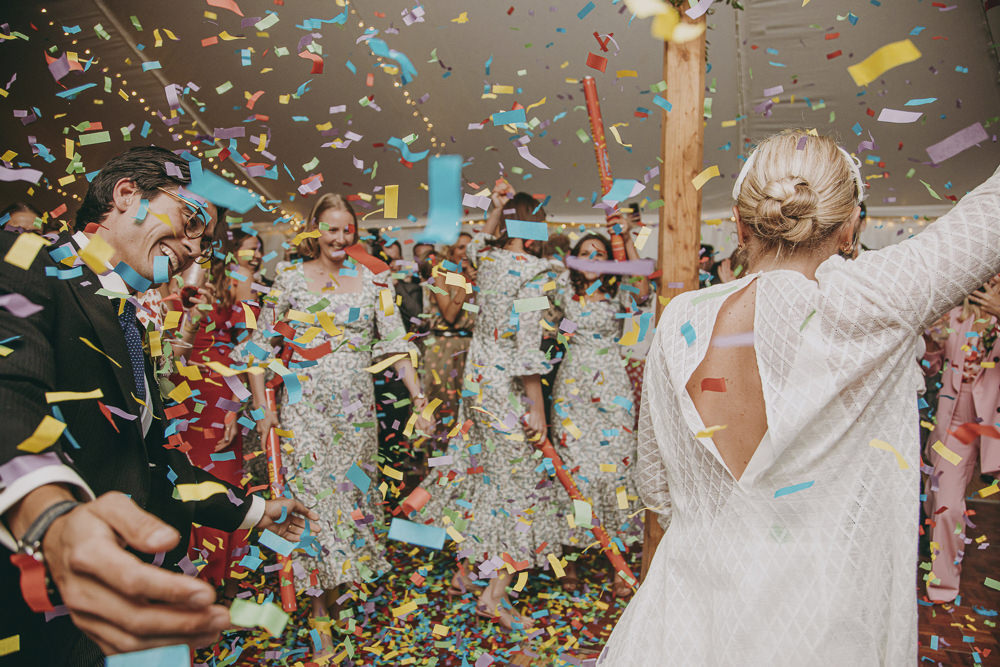Confetti Cannon Dance Floor First Dance Kent Marquee Wedding Lily Bungay and Co