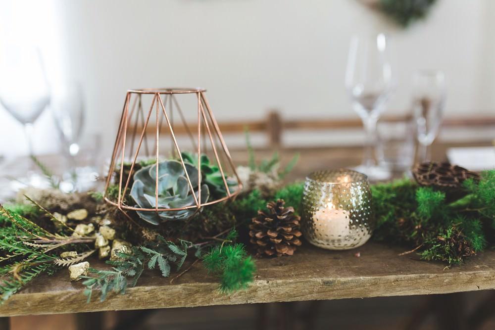 Centrepiece Decor Moss Foliage Greenery Runner Garland Table Candles Terrariums Letchworth Wedding Milkbottle Photography