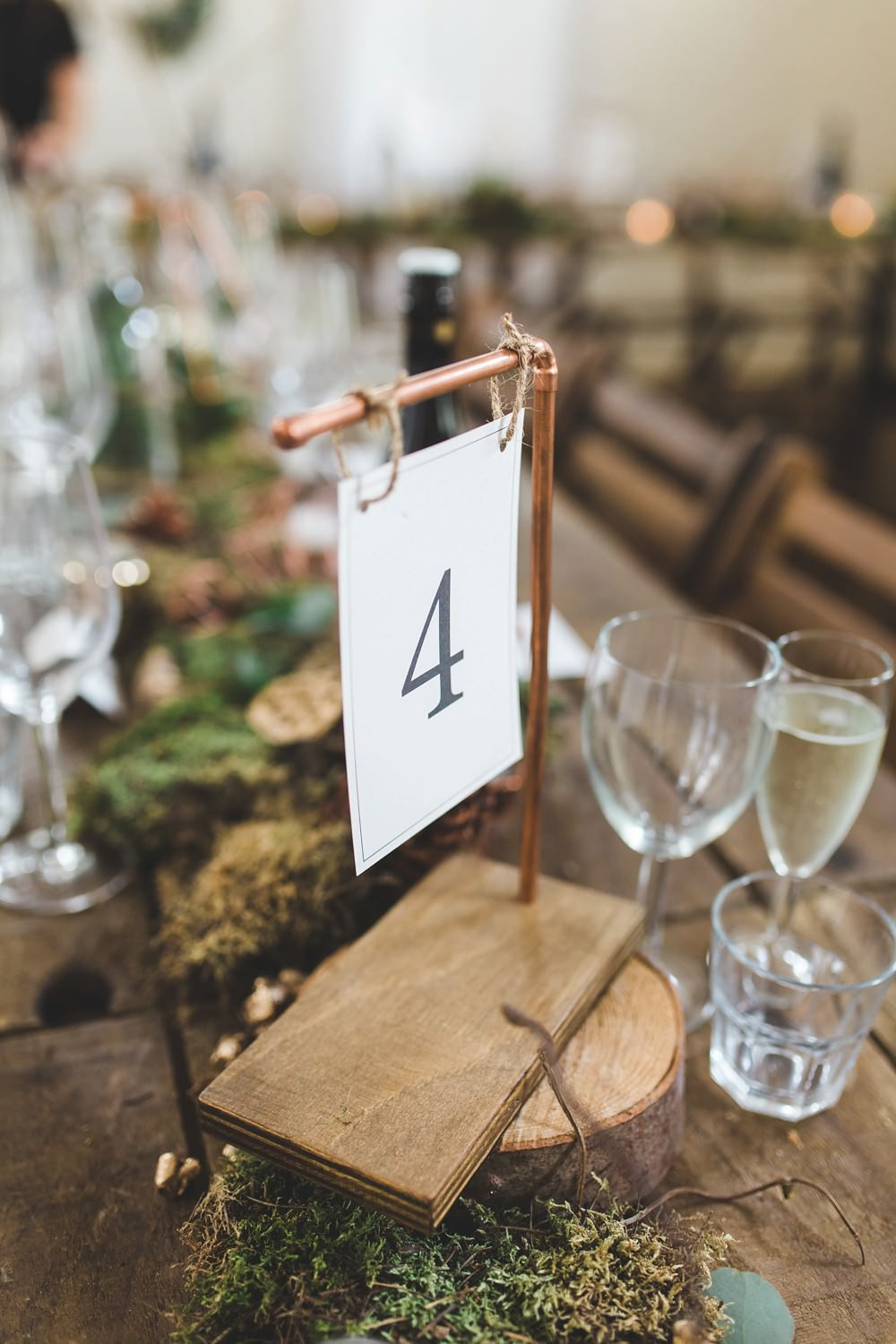 Copper Pipe Wood Table Name Number Letchworth Wedding Milkbottle Photography