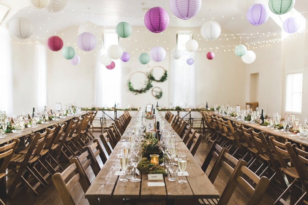 Long Wooden Tables Chairs Greenery Foliage Hoops Lanters Decor Decoration Letchworth Wedding Milkbottle Photography